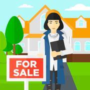Real estate agent offering house - stock illustration