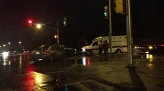 Ambulance at the scene of an accident on slippery roads in Ottawa Canada Stock Footage