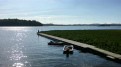 Pier. View of a pier on a serene peaceful lake. Stock Footage