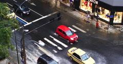 Rain, Flood. Pedestrians, Copacabana, Rio de Janeiro, Brazil. Crossing, traffic. Stock Footage
