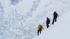 Mountaineers Hike French Alps Chamonix, France 5K HD Stock Video Footage Stock Footage