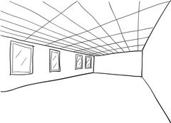 Room Sketch Cutout - stock illustration