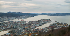 Sunset over the fjord of Bergen, Norway. Time Lapse Stock Footage