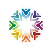 Abstract logo letter circle arrow design icon vector - stock illustration
