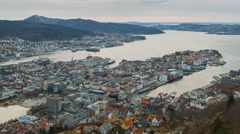 Panorama of Bergen, Sunset. Norway. Time Lapse Stock Footage