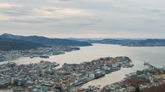 Sunset over the city. Bergen, Norway. Zoom. TimeLapse Stock Footage