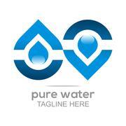 Logo Pure Water Drop Symbol Icon Vector Business Aqua Stock Illustration