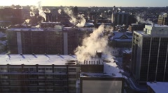 Skyline view of Ottawa Canada on a Cold Frozen Winter Morning Stock Footage