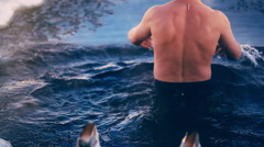 Man Bathes In The Ice-Hole Stock Footage