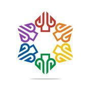 Logo Abstract Letter G Love Combination Design Element Symbol Icon Stock Illustration