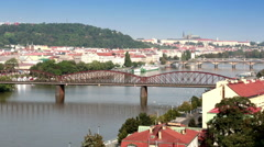 Prague Bridges, the Czech Republic Stock Footage