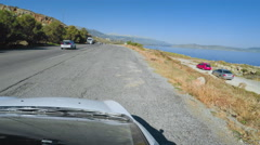 Driving on Coastel Road with Roof Camera in Crete Greece Stock Footage