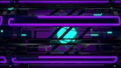 VJ Loop traveling sideway  tunnel neon metal beats glass pipes 128 bpm anim 720p Stock Footage