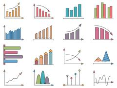 Graphs and Charts Icons - stock illustration