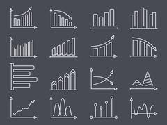 Graphs and Charts Line Icons Stock Illustration