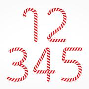 Candy Canes Numbers Stock Illustration