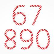 Candy Canes Numbers - stock illustration