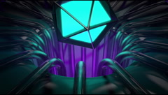 VJ Loop platonic coming out from neon metal beats structure 128 bpm animate 720p Stock Footage