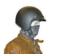 Close up view biker's face of mannequin in helmet on a white background Stock Photos