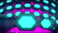 VJ Loop Neon Metal grid on fast Beat drop 128 ppm Stock Footage