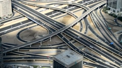 Dubai great city intersection roads aerial view Stock Footage