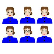 Woman with different facial expressions. - stock illustration