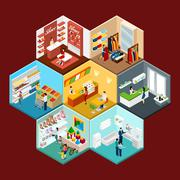 Shopping Mall Hexagonal Pattern Isometric Composition - stock illustration