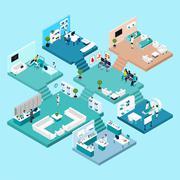 Hospital Isometric Icons - stock illustration