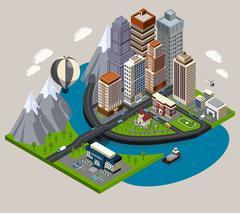 Isometric City Concept Stock Illustration
