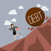 Business woman running away from heavy debt that is rolling down to her - stock illustration