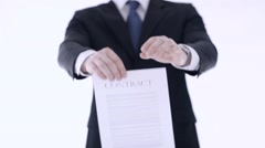 man breaking a contract - stock footage