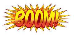 Cartoon Comic Book Boom Explosion Sound Effect - stock illustration