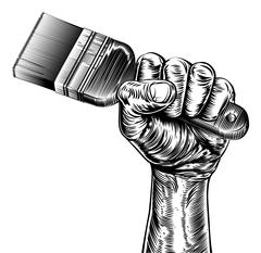 Propaganda Woodcut Fist Hand Holding Paintbrush - stock illustration
