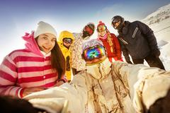Group of happy friends taking selfie. Sheregesh resort, Siberia, Russia Stock Photos