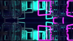 VJ Loop mirrored structure neon metal beats glass pipes 128 bpm animated 720p Stock Footage