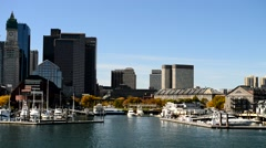 Boston skyline from the sea Stock Footage