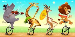 Funny wild animals on unicycles - stock illustration
