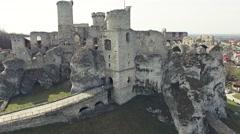 Ogrodzieniec Castle Aerial 4k Stock Footage