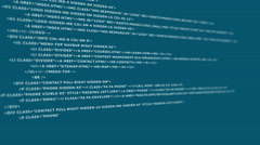 Scrolling HTML code - stock footage