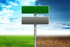 Road signs with different sides of nature Stock Illustration