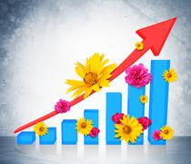 Graphical chart with flowers - stock illustration