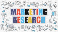 Multicolor Marketing Research on White Brickwall. Doodle Style Stock Illustration