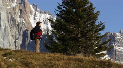 Man Hikes French Alps Chamonix, France 5K HD Stock Video Footage - stock footage
