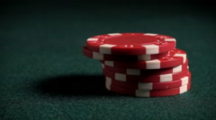 Poker or Casino chips fall in super slow motion - stock footage