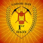 May 1st. Labor Day. Mine helmet and wheat ears Stock Illustration