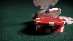 Casino chips falling in slow motion - stock footage
