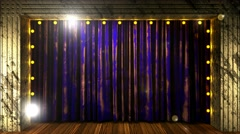 Blue curtain stage with loop lights Stock Footage
