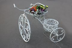 bike flower bed - stock photo