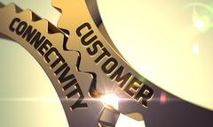 Customer Connectivity Concept. Golden Metallic Cog Gears Piirros