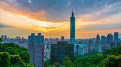 Time lapse of Taipei, Taipei evening skyline Stock Footage